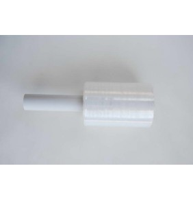 Folie stretch manuala tip mini roll, 100mm, cu maner din tub de plastic